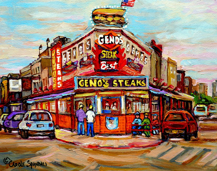 Kunstwerk >> Carole Spandau >> GENO S RESTAURANT STEAKS PHILADELPHIA South Philly CITY Straßenszenen