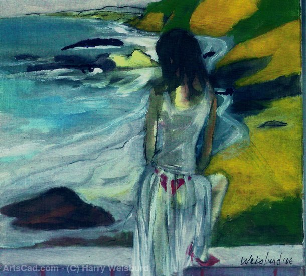 Kunstwerk >> Harry Weisburd >> Frau in schiere Kleid By The Sea