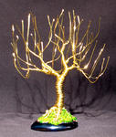 Sal Villano Wire Tree Sculpture - UPRIGHT WEIDE - Mini Wire Baum Skulptur