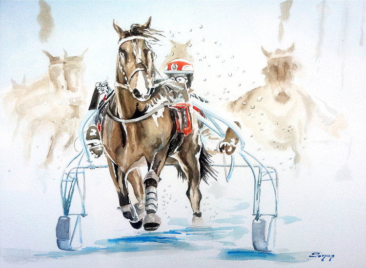 Kunstwerk >> Snop Barbouillages >> Course de chevaux