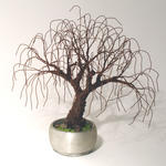 Sal Villano Wire Tree Sculpture - Verrostet BONSAI - Mini-Baum-Skulptur
