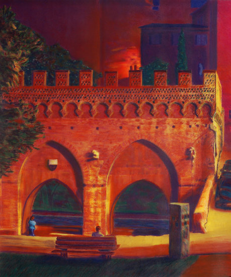 Kunstwerk >> Paul Andrus >> Forte Branda at Night, Siena, Italien