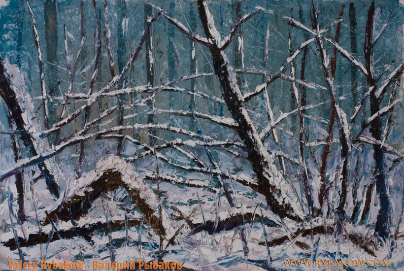 Kunstwerk >> Valery Rybakow >> Winter Landscape Painting - Windschutz in einem Winterwald - Winter Spachtel Malerei